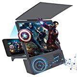 GLISTON 8'' 3D Phone Screen Enlarger with Bluetooth Speaker, Screen Magnifier for Cell Phone, HD Screen Amplifier for Smartphone, Folding Screen Magnifier for Movies, Videos, Gaming