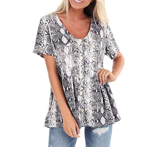 Buy Cheap Women's Snake Short Sleeve Casual Shirts Loose Blouse Tunic Elegant Tops Gray