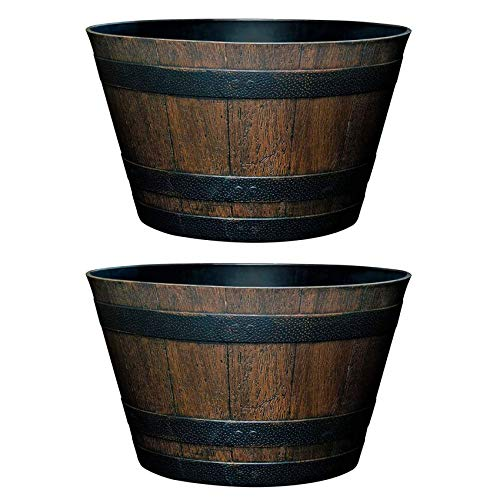 L&Y Jewelry Flower Pot, Resin Whiskey Barrel Plant Pot Round Planter Suitable for Indoor Outdoor Garden Yard Patio (30cm (2 Pack))