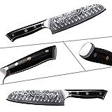 TURWHO Santoku Messer Damast,extra Scharfes Klingenblattö 18cm aus Profi Küchenmesser Damastmesser,Japanisches kochmesser, Japanisches VG-10 & ergonomischer G10 Griff - 2