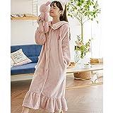 NEWELLYY Sexy Lace Chemise Mini Vestido,Pijama de Franela Gruesa, Vestido de Maternidad de Terciopelo Coral-2 Rosa_XL,Respaldo Erotica Atractiva