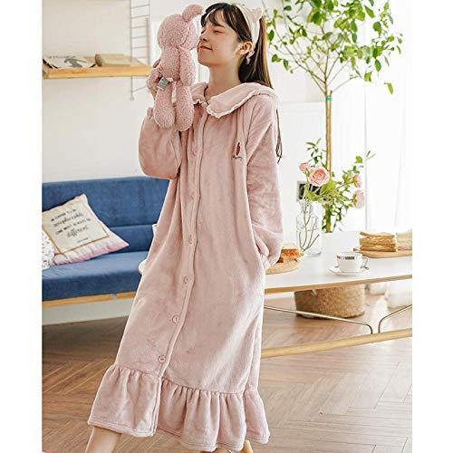 NEWELLYY Reizwäsche Sleepwear Kleid mit String für Damen,Dicker Flanellpyjama, Umstandskleid aus Korallensamt - 2 pink_XL,Unterwäsche Strapsen Negligee Nachtwäsche