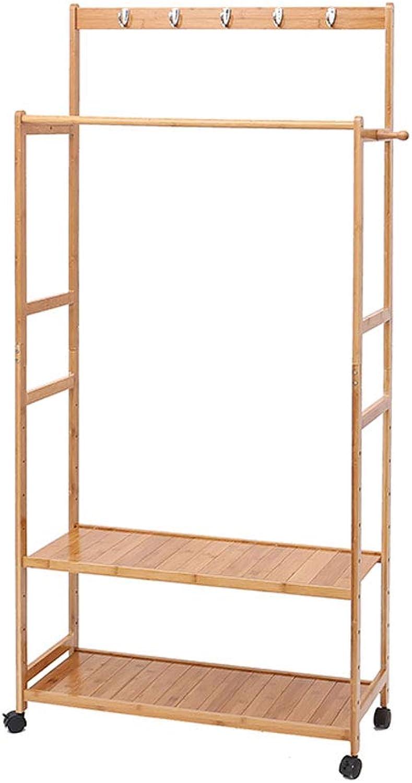 CIGONG-Coat rack Simple Modern Coat Rack Bedroom Double Pole Solid Wood Board Hanger Creative Cloakroom Double Roller Hanger 174x80x31cm