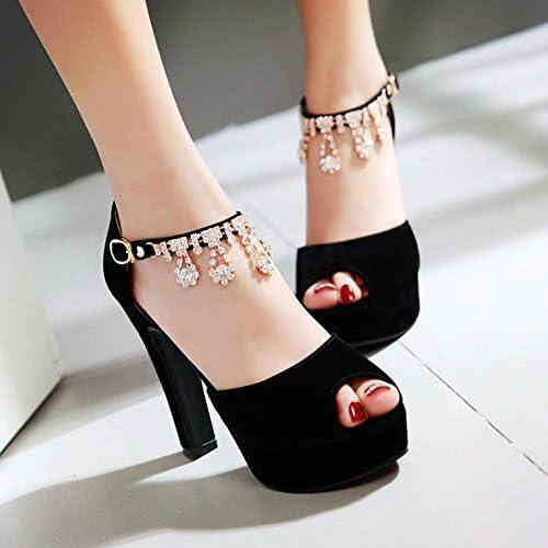 GTVERNH Sandales De Forages En Eaux Coréennes Le Talon Haut été Daim Chaussures Femmes Femmes 11.5Cm Talon Bruts Sandales