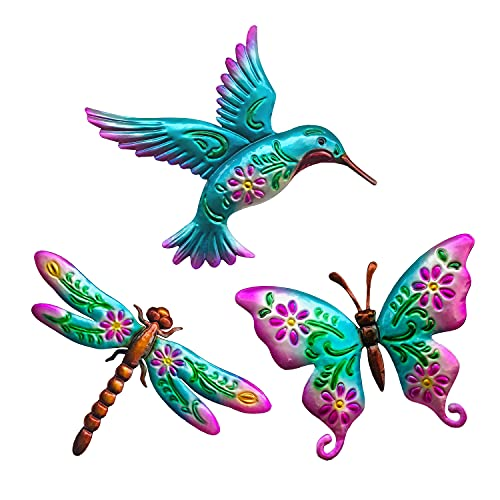 WAIU Hummingbird Butterfly Dragonfly Metal Wall Art Decor, Wall Sculpture Decoration Hanging for Home Living Room Bedroom Garden Porch Patio Balcony Ornament for Indoor Outdoor, 3 pack 9 inch Blue