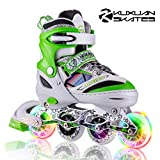 Kuxuan Boys Camo Black & Silver Adjustable Inline Skates with Light up Wheels, Fun Illuminating Roller Blading for Kids Girls Youth (Green, Medium(1-4US))