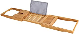 LULAA バスタブトレー バステーブル バスタブラック バスブックスタンド 竹製 伸縮式 スマホ iPad 収納 お風呂用 お風呂雑貨置き台 75-104cm バス用品