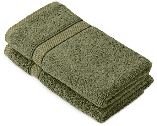 Pinzon by Amazon - Juego de toallas de algodón egipcio (2 toallas de manos), color verde