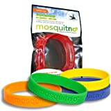 Mosquitno Natural, Citronella, Waterproof Mosquito Repellent Wristbands, Adult, 5-Pack, Red/Orange/Green/Navy/Yellow