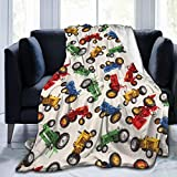 Ducos Tractor Cars Flannel Fleece Throw Blanket 50'x40' Living Room/Bedroom/Sofa Couch Warm Soft Bed Blanket for Kids Adults All Season