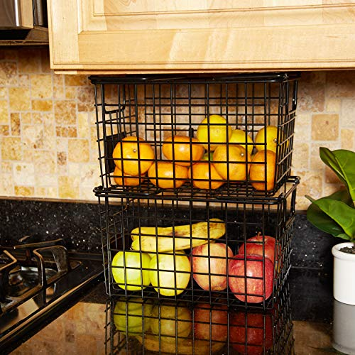 WinDLCP Wire Decorative Baskets - 2Pc - Black Powder Coated Baskets - Pantry Organization Baskets - Dry Erase Labels & Markers - Room Decor - Bathroom, Laundry, Nursery - Modern Farmhouse Wire Baskets