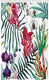 ABAKUHAUS Bunt Schmaler Duschvorhang, Tropische Orchideen, Badezimmer Deko Set aus Stoff mit Haken, 120 x 180 cm, Magenta Grün