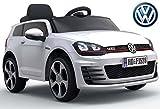 ES-TOYS Montar en el Coche - Coche eléctrico Volkswagen Golf GTI 7' - Licencia - 12V7AH batería, Control Remoto 2,4Ghz 2 del Motor, MP3