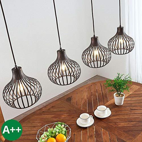 Lindby Pendelleuchte 'Frances' dimmbar (Retro, Vintage, Antik) in Braun aus Metall u.a. für Küche (4 flammig, E27, A++) - Deckenlampe, Esstischlampe, Hängelampe, Hängeleuchte, Küchenleuchte