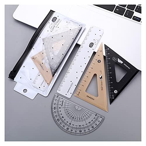 4 unids/set oso acostado plástico triángulo recto regla transportador dibujo suministro conjunto para la escuela arte examen papelería