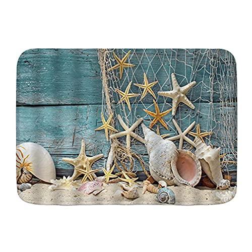 DAOPUDA Antiscivolo Zerbino,Seashells Starfish Conch Reti da pesca Beach Marine Deck in legnoassorbe l'acqua Morbido tappeti da esterno Tappetino per Ingresso, Bagno, Cucina,45x75cm