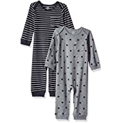 Amazon Essentials Baby 2-Pack Coverall, Uni Star Stripe Neutral, Newborn
