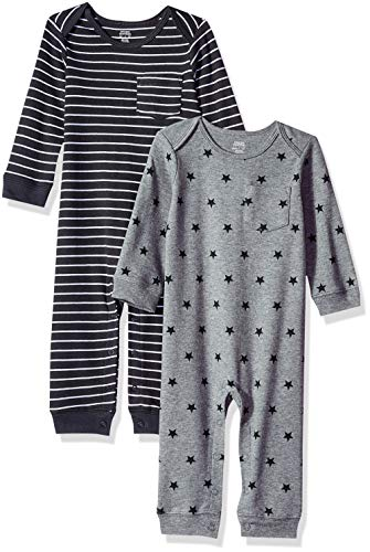 Amazon Essentials Baby-Overall, 2er-Pack, Uni Star Stripe Neutral, US NB (EU 56-62)