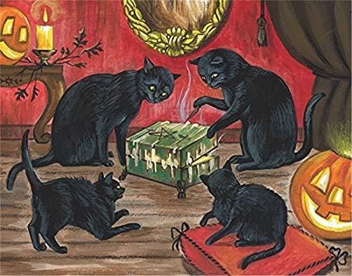 Refosian 11x14 Druck DER URSPRÜNGLICHEN MALEREI Halloween SCHWARZKATZE DYBBUK DIBBUK Box Spirit
