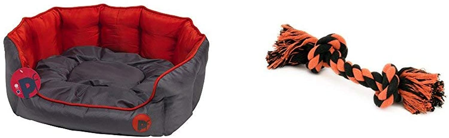 Petface Oxford Oval Dog Bed, XLarge, Red with Seriously Strong by Petface Solid Knotted Rope Dog Toy