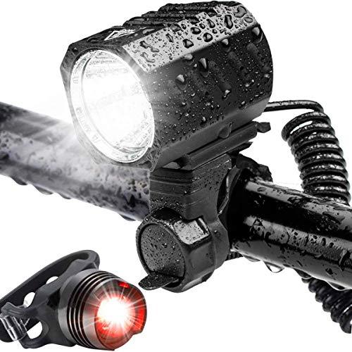 Luces de Bicicleta, Luz de Bicicleta LED, Batería Recargable USB de 4400 mah, 1200 Lúmenes Súper Potentes, 4 Modos de Iluminación, Luces de Seguridad para Ciclismo de Montaña y Carretera