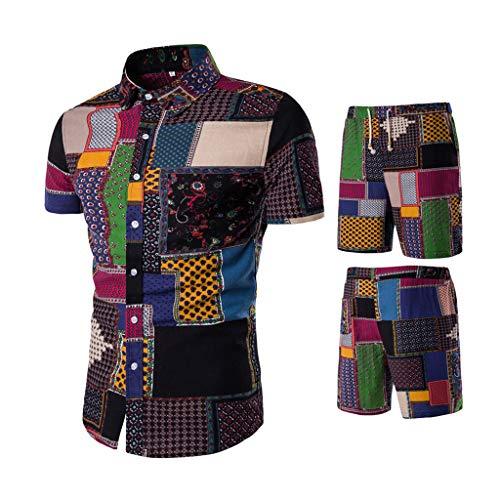 sunnymi 2PC Hombre Outfit, Verano Confortable Moda Manga Corta y Pantalones Cortos Ttitching – Traje de Hombre Negro XXXL