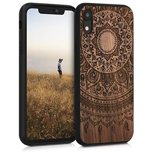 kwmobile Cover Compatibile con Apple iPhone XR - Hard-Case in Legno con Bumper TPU - Sole Indiano Marrone Scuro