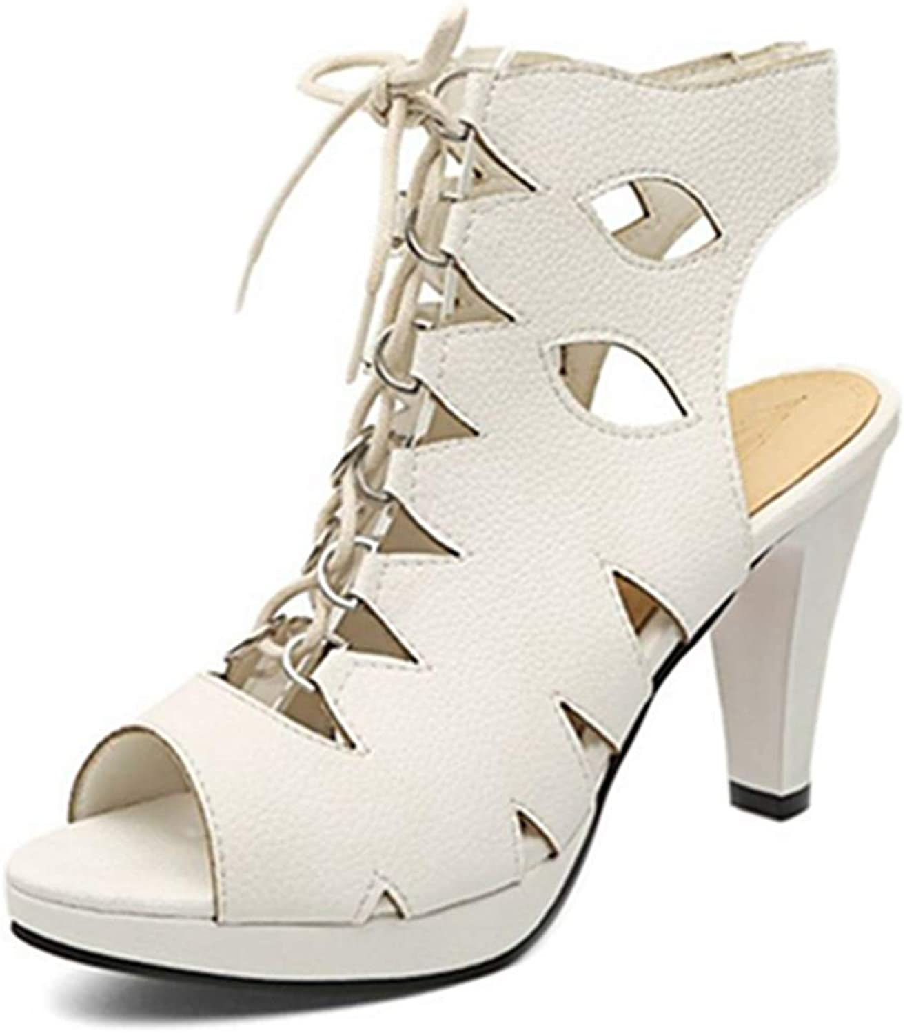 SJJH Sandal-Boots with High Heel and Open Toe Gladiator Sandals with Roman Style