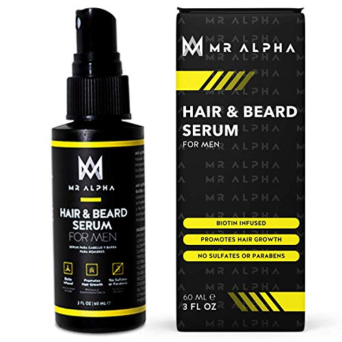 Hair Growth and Beard Regrowth Serum For Men, 2oz - Biotin DHT Blocker Treatment Spray With Caffeine, Saw Palmetto Fights Facial Hair Loss, Receding Hairline, Patchy Beard, Bald Spots - Made In USA