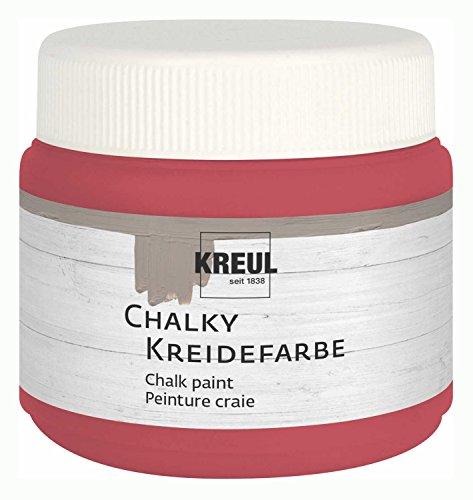 Kreul 75325 - Chalky Kreidefarbe, Cozy Red in 150 ml Kunststoffdose, sanft - matte Farbe, cremig deckend, schnelltrocknend, für Effekte im Used Look