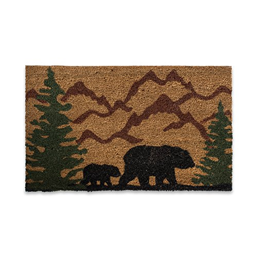 DII Indoor/Outdoor Natural Coir Easy Clean Rubber Back Entry Way Doormat For Patio, Front, Weather Exterior Doors, 18x30, Bear Country