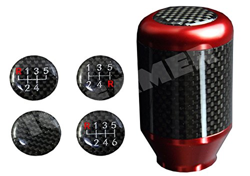 ICBEAMER Racing Style Red Aluminum w/Carbon Fiber Mini Short Throw Shifter Manual Stick Shift Knob 5 6 Speeds Pattern