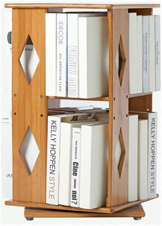 Adjustable 2-Tier Bookshelf,Bamboo Natural Open Shelf Swivel Multifunctional Modern Narrow Bookcase for Home or Office-B 36x36x65cm(14x14x26inch)