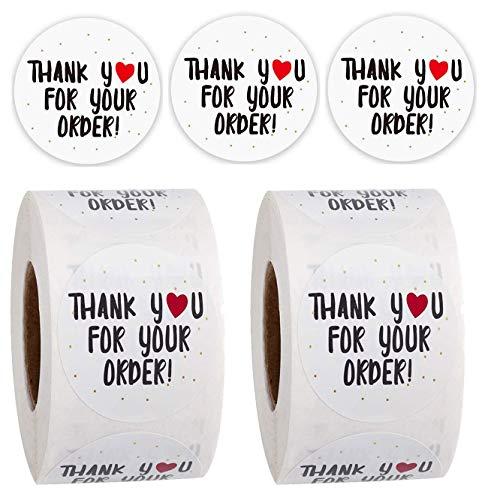 Pegatinas de agradecimiento, paquete de 2 unidades en total 1000 pegatinas lindas de 2,5 cm para mis pedidos colocados cajas de envío pequeñas empresas, suministros de tarjeta de...