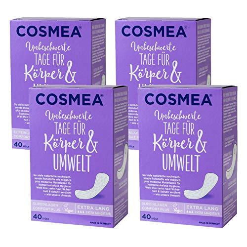 Cosmea Slipeinlagen, Vorteilspack, Hygiene-Einlagen aus nachwachsenden Rohstoffen. Damen-Hygiene im Einklang mit der Natur (Extra Lang 4 x 40 Stück)