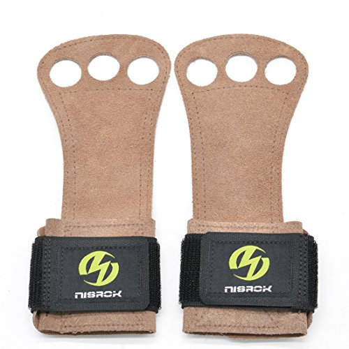 Nisrok Gymnastics Hand Grips, Great for Pull Ups,Cross Training, Weightlfting,Powerlifting,Barbells,Kettlebells + Free Carrying Bag (Brown, Medium)