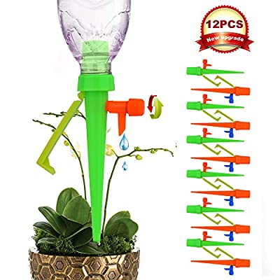 ?New Version? Plant Self Watering Spikes System with Slow Release Control Valve Switch, Automatic Vacation Plant Irrigation Watering Drip Devices, Anti-Tilt Anti-Fall Design, Suitable for All Bottles from BEST NEW