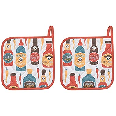 Now Designs Basic Potholders, Set of Two, Hot Sauce