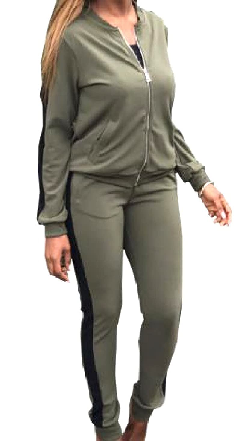 最後に制裁着実に女性スリムテーラードフルジップトラックスーツトップスウェットパンツ2 pcs