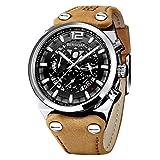 Prime Sales Day Reloj para Hombre BERSIGAR Military Skeleton Chronograph Reloj para Hombre con Esfera Grande, Correa de Cuero marrón