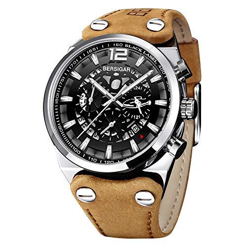 Orologio da uomo al quarzo analogico cronografo con cinturino in pelle marrone quadrante argento BERSIGAR