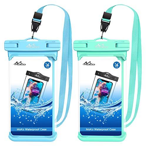 MoKo Bolsa Impermeable para Teléfono, [2 PZS] Funda de Móvil para Bolsa Seca con Cordón hasta 6.5' para iPhone 12/iPhone 12 Mini/iPhone 12 Pro/11/11 pro/11 Pro MAX/Samsung S21 - Azul + Verde