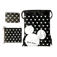 Emerald Disney Mickey Mouse Glow in The Dark Drawstring Backpack Plus Autograph Book with Purse - Set of 3 Silver (SMALL HEAD AUTOGRAPH)