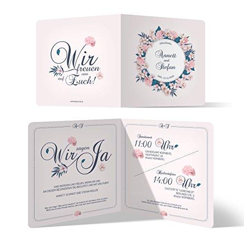 30 x Hochzeitseinladungen Einladungskarten Hochzeit Einladung individuell - Blumen Romantik