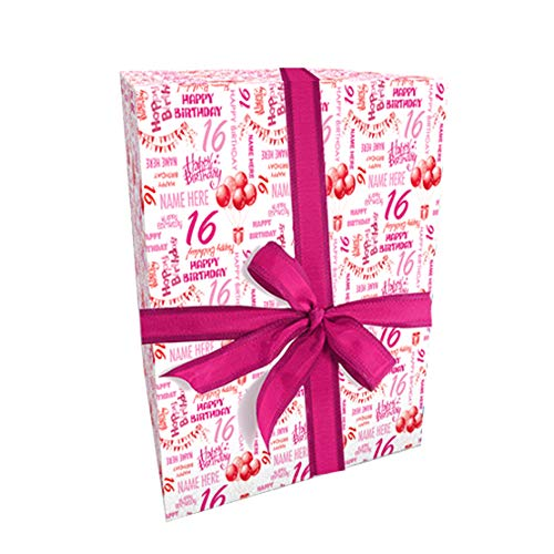 Personalised Birthday Name & Age Gift Wrap with 2 Tags Pink/Red - 100% Recyclable with 2 Plain Tags - Add a Name and Any Age