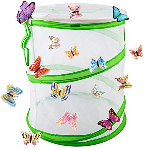 Yueser Schmetterling Lebensraum Käfig, Insekten und Schmetterling Habitat Zusammenklappbar Pop-up Schutz Käfig Net Mesh Insekten Pflanzenkäfig (35 X 50cm)