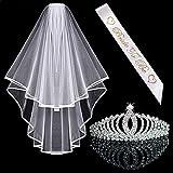 Awtlfe Kit d'accessoires de future mariée avec tiare en cristal et voile...