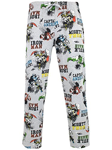 Marvel Pantaloni di Pigiama per Uomo Avengers Grigio X-Large