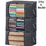 Bolsas de Almacenaje Plegable Caja de Tela de Fibra de Carbón de Bambú para Almacenamiento y Organización de Edredón, Sábanas Fundas Mantas y Ropa Fuera de Temporada (Gris-3 Piezas)