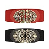 Cinturón ancho elástico para mujer 2 piezas retro de las señoras de cintura elástica cinturón (Negro & Rojo)